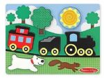 CHILDRENS CHILD MELISSA AND DOUG WOODEN CHUNKY RED CABOOSE TRAIN 6 PIECE PUZZLE